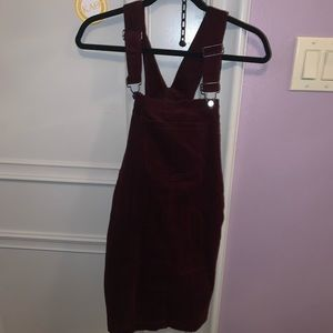 Maroon overall dress